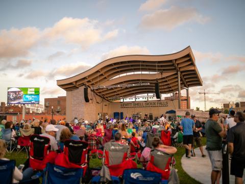 Watching live music at Sioux Falls' summertime concert series Levitt at the Falls
